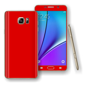Samsung Galaxy NOTE 5 Bright Red Glossy Skin Wrap Decal Cover Protector by EasySkinz
