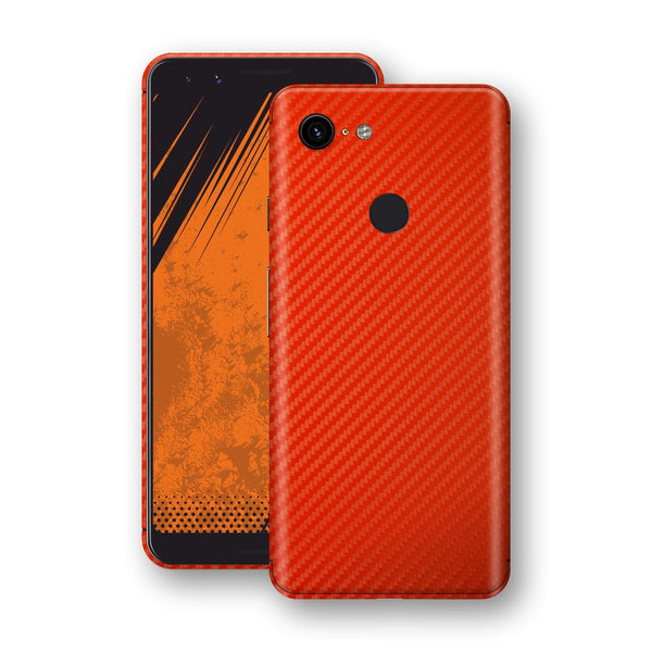 Google Pixel 3 3D Textured Red Carbon Fibre Fiber Skin, Decal, Wrap, Protector, Cover by EasySkinz | EasySkinz.com