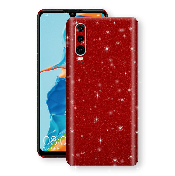 Huawei P30 Diamond Red Shimmering, Sparkling, Glitter Skin, Decal, Wrap, Protector, Cover by EasySkinz | EasySkinz.com