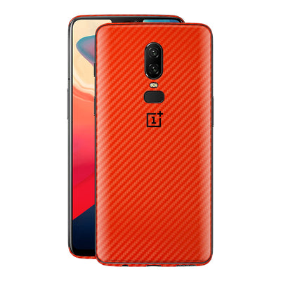 OnePlus 6 3D Textured Red Carbon Fibre Fiber Skin, Decal, Wrap, Protector, Cover by EasySkinz | EasySkinz.co
