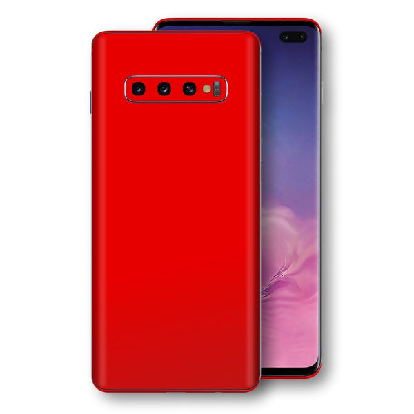 Samsung Galaxy S10+ PLUS Bright Red Glossy Gloss Finish Skin, Decal, Wrap, Protector, Cover by EasySkinz | EasySkinz.com