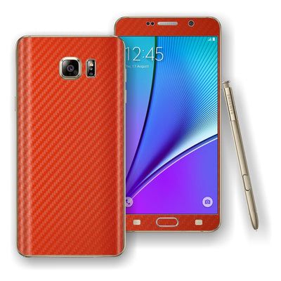 Samsung Galaxy NOTE 5 Red 3D Textured CARBON Fibre Skin Wrap Decal Cover Protector by EasySkinz