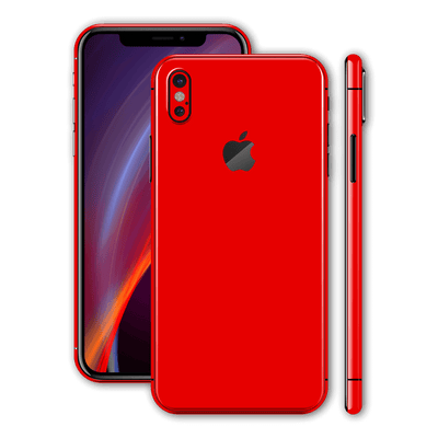 iPhone X Glossy Bright Red Skin, Wrap, Decal, Protector, Cover by EasySkinz | EasySkinz.com