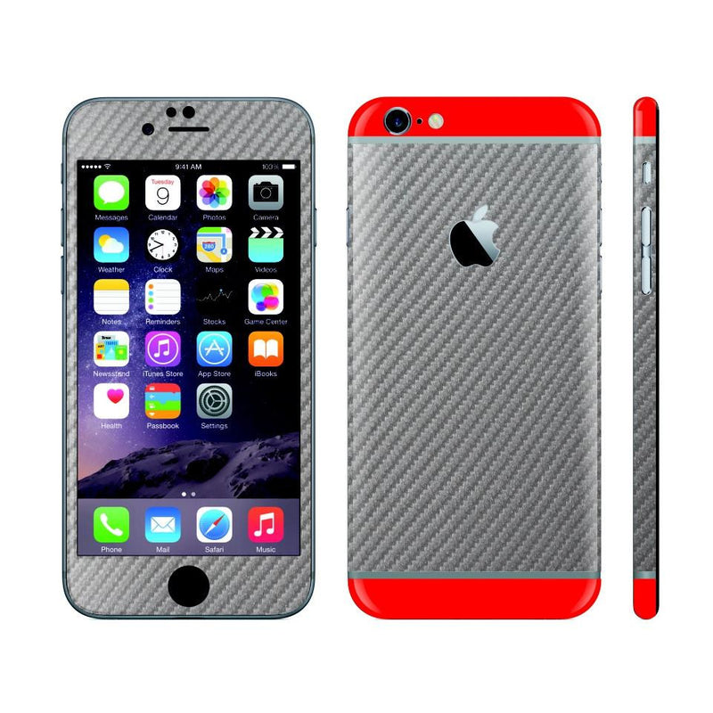 iPhone 6 Metallic Grey Carbon Fibre Skin with Red Matt Highlights Cover Decal Wrap Protector Sticker by EasySkinz