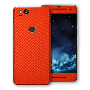 Google Pixel 2 3D Textured Red Carbon Fibre Fiber Skin, Decal, Wrap, Protector, Cover by EasySkinz | EasySkinz.com
