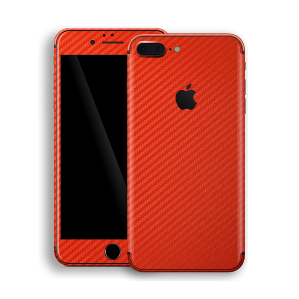 iPhone 8 Plus 3D Textured Red Carbon Fibre Fiber Skin, Decal, Wrap, Protector, Cover by EasySkinz | EasySkinz.com