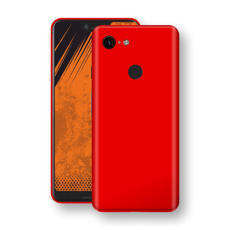 Google Pixel 3 XL Bright Red Glossy Gloss Finish Skin, Decal, Wrap, Protector, Cover by EasySkinz | EasySkinz.com