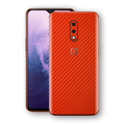 OnePlus 7 3D Textured Red Carbon Fibre Fiber Skin, Decal, Wrap, Protector, Cover by EasySkinz | EasySkinz.com