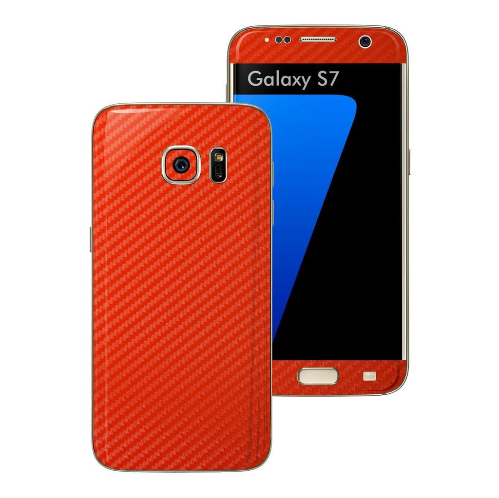 Samsung Galaxy S7 Red 3D Carbon Fibre Fiber Skin Wrap Decal Sticker Cover Protector by EasySkinz