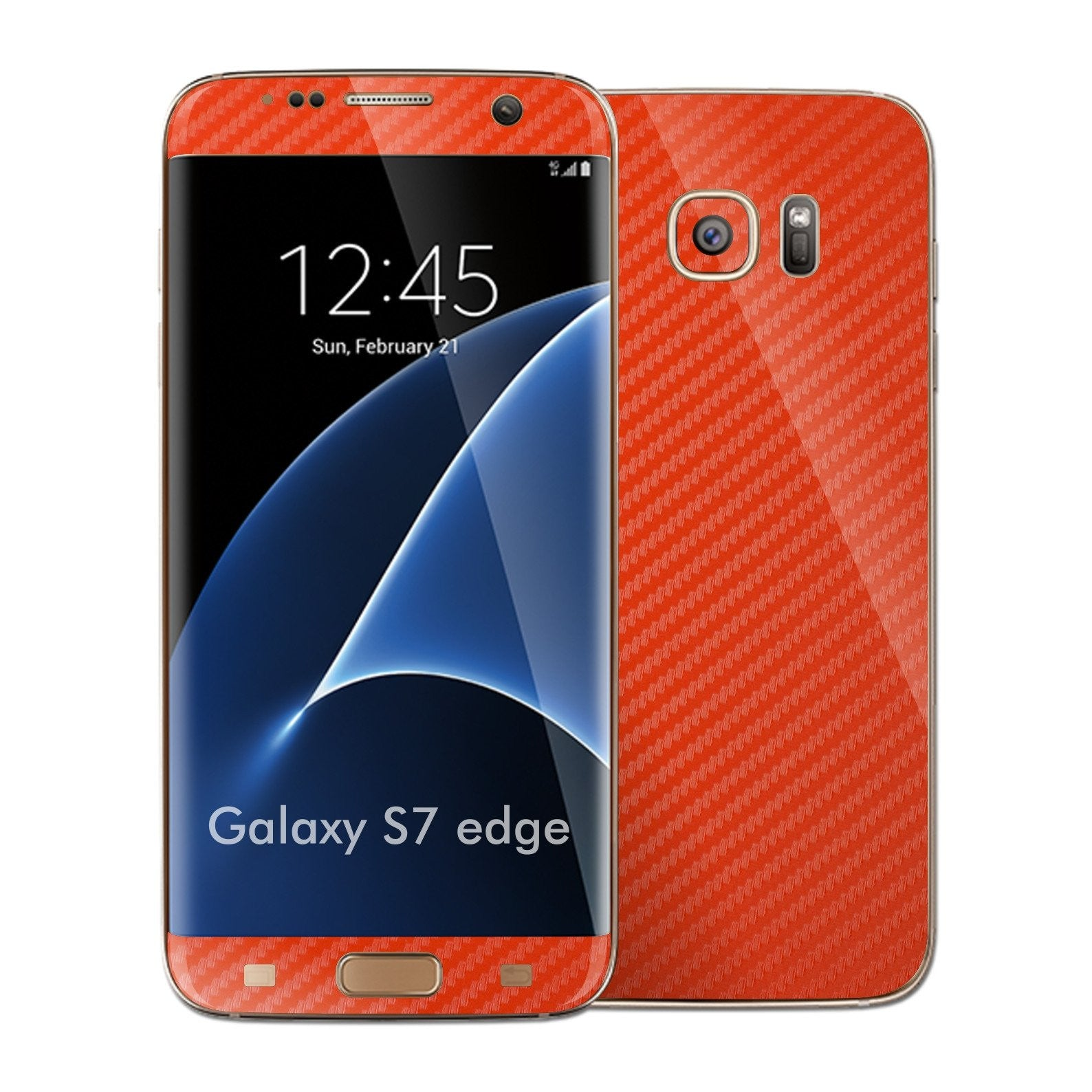 Samsung Galaxy S7 EDGE RED 3D Carbon Fibre Fiber Skin Wrap Decal Sticker Cover Protector by EasySkinz