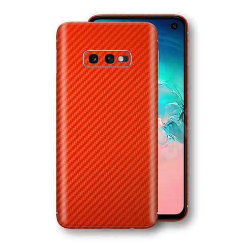 Samsung Galaxy S10e 3D Textured Red Carbon Fibre Fiber Skin, Decal, Wrap, Protector, Cover by EasySkinz | EasySkinz.com