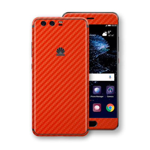 Huawei P10+ PLUS  3D Textured Red Carbon Fibre Fiber Skin, Decal, Wrap, Protector, Cover by EasySkinz | EasySkinz.com