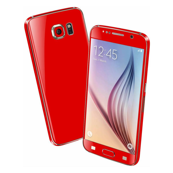 Samsung Galaxy S6 Colorful RED MATT Skin Wrap Sticker Cover Protector Decal by EasySkinz