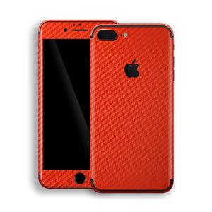 iPhone 7 Plus 3D Textured Red Carbon Fibre Fiber Skin, Decal, Wrap, Protector, Cover by EasySkinz | EasySkinz.com