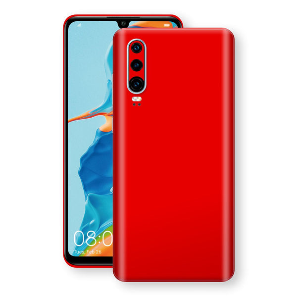 Huawei P30 Bright Red Glossy Gloss Finish Skin, Decal, Wrap, Protector, Cover by EasySkinz | EasySkinz.com