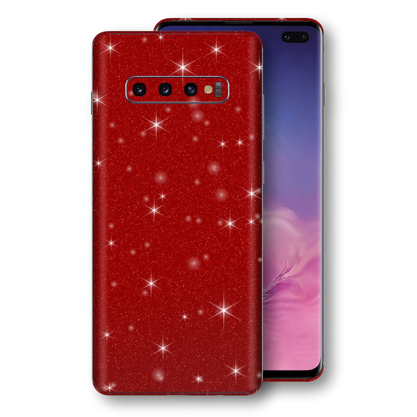 Samsung Galaxy S10+ PLUS Diamond Red Shimmering, Sparkling, Glitter Skin, Decal, Wrap, Protector, Cover by EasySkinz | EasySkinz.com