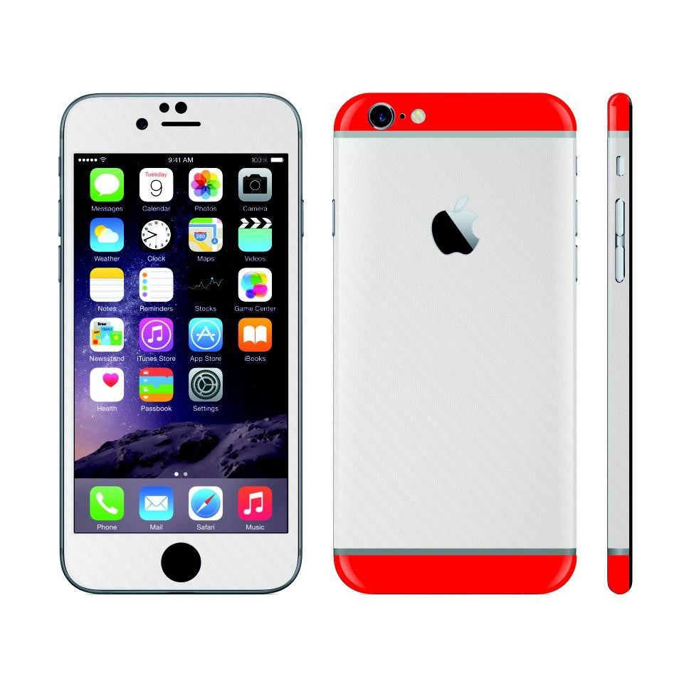 iPhone 6 White Carbon Fibre Skin with Red Matt Highlights Cover Decal Wrap Protector Sticker by EasySkinz