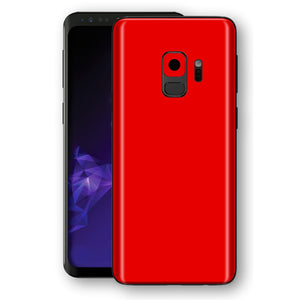 Samsung GALAXY S9 Bright Red Glossy Gloss Finish Skin, Decal, Wrap, Protector, Cover by EasySkinz | EasySkinz.com