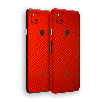 Google Pixel 4a 3D Textured Red Carbon Fibre Fiber Skin Wrap Sticker Decal Cover Protector by EasySkinz