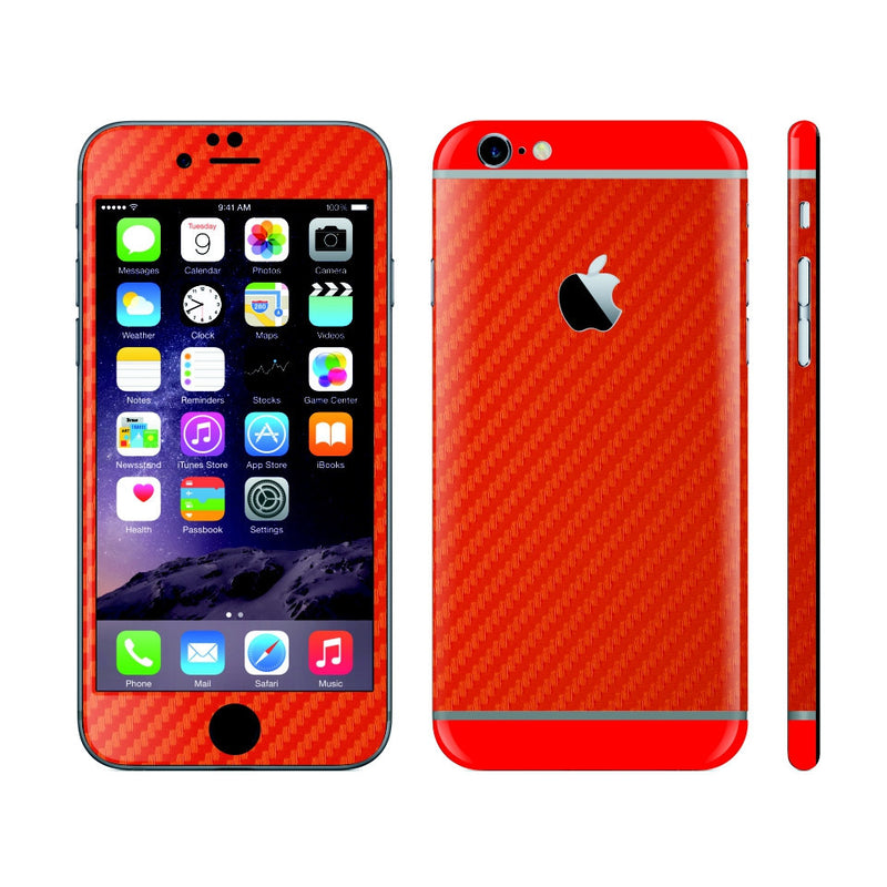iPhone 6S RED Carbon Fibre Fiber Skin with Red Matt Highlights Cover Decal Wrap Protector Sticker by EasySkinz