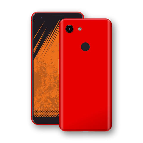 Google Pixel 3a Bright Red Glossy Gloss Finish Skin, Decal, Wrap, Protector, Cover by EasySkinz | EasySkinz.com