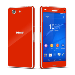 Sony Xperia Z3 COMPACT Bright Red Glossy Skin Wrap Sticker Cover Decal Protector By EasySkinz
