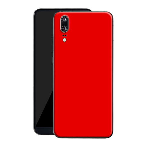 Huawei P20 Bright Red Glossy Gloss Finish Skin, Decal, Wrap, Protector, Cover by EasySkinz | EasySkinz.com