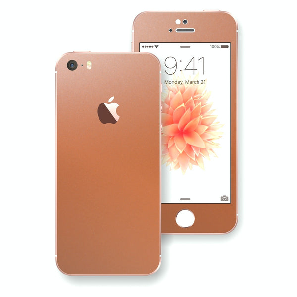 iPhone SE Rose Gold Matt Matte Metallic Skin Wrap Decal Sticker Cover Protector by EasySkinz