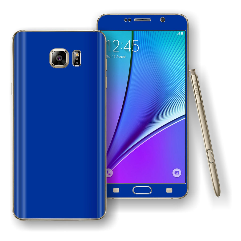 Samsung Galaxy NOTE 5 Royal Blue Glossy Skin Wrap Decal Cover Protector by EasySkinz