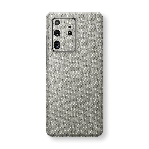 Samsung Galaxy S20 ULTRA SILVER Honeycomb 3D Textured Skin Wrap Sticker Decal Cover Protector by EasySkinz