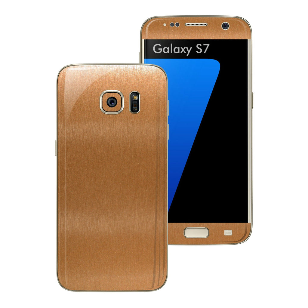 Samsung Galaxy S7 Brushed Copper Metallic Skin Wrap Decal Sticker Cover Protector by EasySkinz