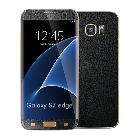 Samsung Galaxy S7 EDGE Luxuria Black Leather Glossy Skin Wrap Decal Cover by EASYSKINZ