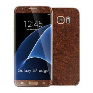 Samsung Galaxy S7 EDGE Luxuria Brown Leather Glossy Skin Wrap Decal Cover by EASYSKINZ