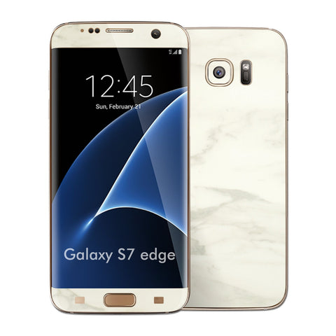 Samsung Galaxy S7 EDGE Luxuria White Marble Glossy Skin Wrap Decal Cover by EASYSKINZ