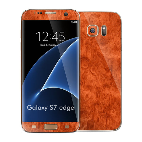 Samsung Galaxy S7 EDGE Luxuria Mahogany Wood Wooden Glossy Skin Wrap Decal Cover by EASYSKINZ