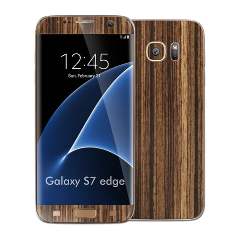 Samsung Galaxy S7 EDGE Luxuria Zebrano Wood Wooden Glossy Skin Wrap Decal Cover by EASYSKINZ