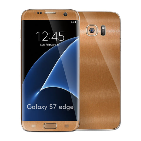 Samsung Galaxy S7 EDGE Brushed Copper Metallic Skin Wrap Decal Cover by EASYSKINZ