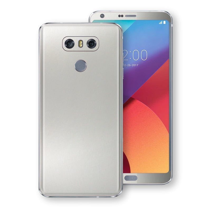 LG G6 Satin Pearl White Matt Skin, Decal, Wrap, Protector, Cover by EasySkinz | EasySkinz.com
