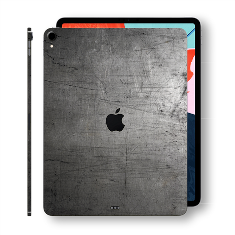 "iPad PRO 11"" inch 2018 Signature Industrial Scratched Metal Skin Wrap Decal Protector 