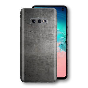 Samsung Galaxy S10e Print Custom Signature Industrial Scratched Worn Metal Skin Wrap Decal by EasySkinz