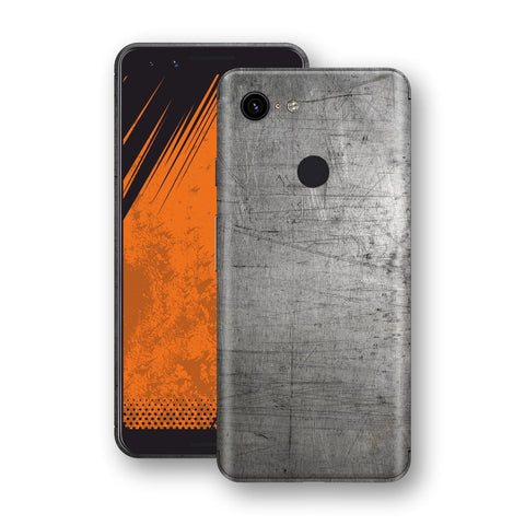 Google Pixel 3 Print Custom Signature Industrial Scratched Worn Metal Skin Wrap Decal by EasySkinz