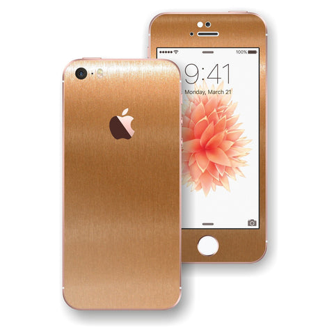 iPhone SE Brushed Copper Metallic Skin Wrap Decal Sticker Cover Protector by EasySkinz