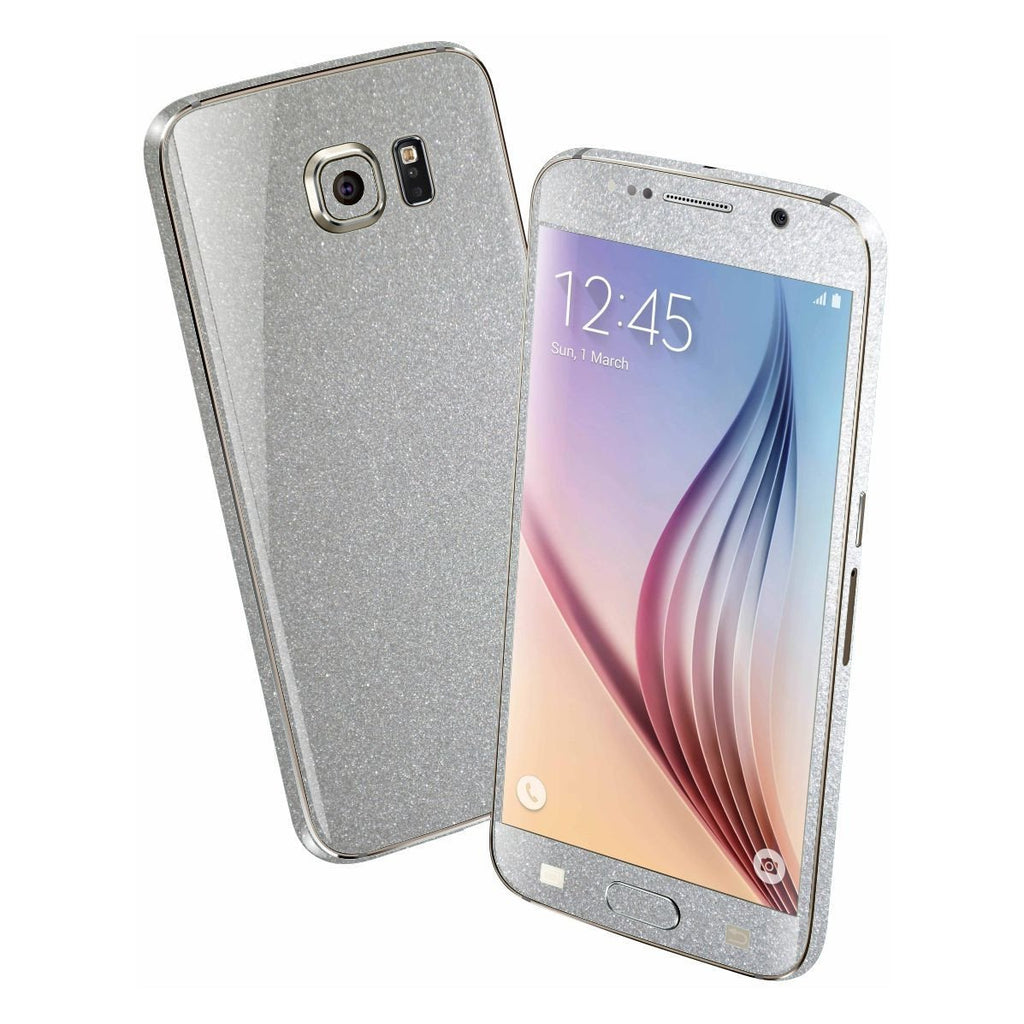 Samsung Galaxy S6 Glossy Silver Metallic Skin Wrap Sticker Cover Protector Decal by EasySkinz