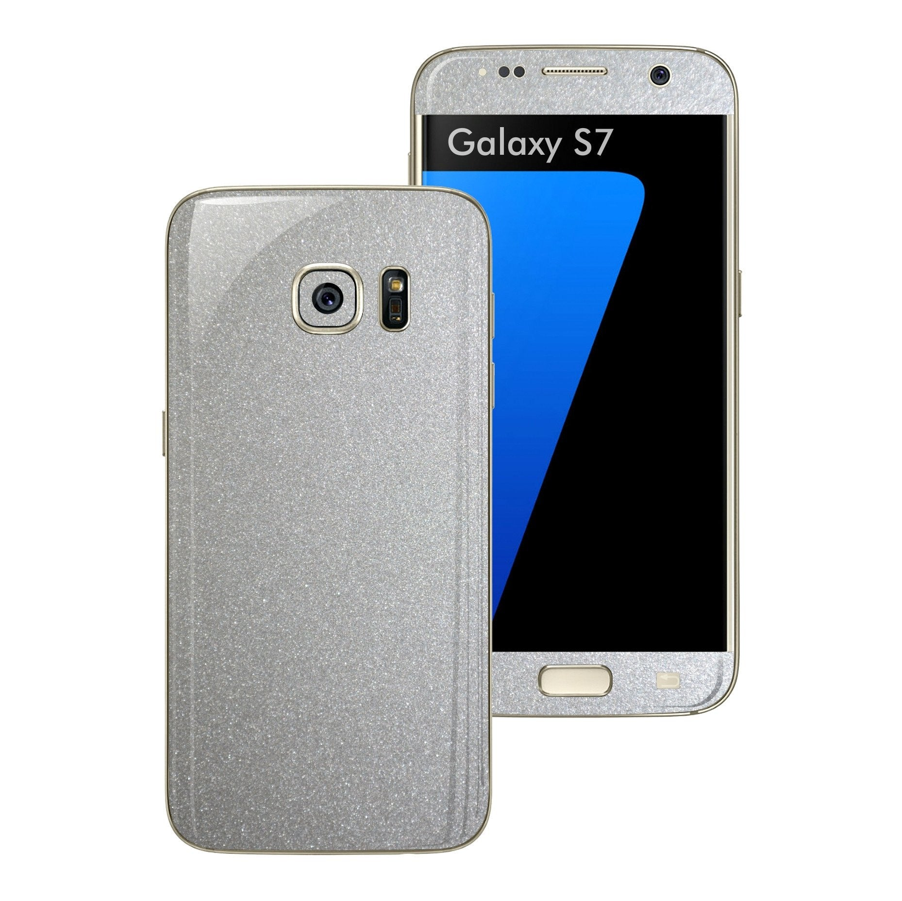 Samsung Galaxy S7 Glossy Silver Metallic Skin Wrap Decal Sticker Cover Protector by EasySkinz