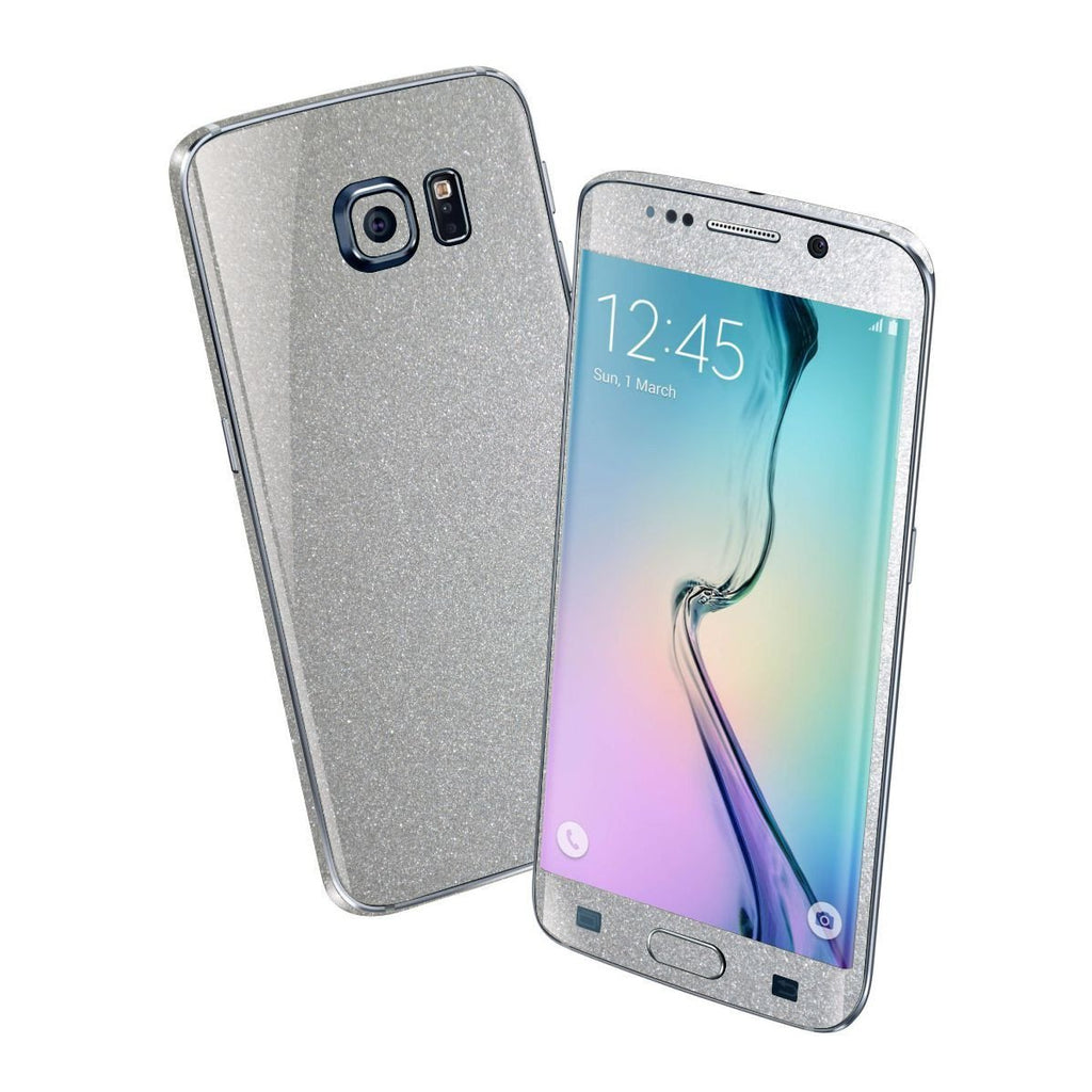Samsung Galaxy S6 EDGE Glossy Silver Metallic Skin Wrap Sticker Cover Protector Decal by EasySkinz