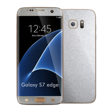 Samsung Galaxy S7 EDGE Glossy Silver Metallic Skin Wrap Decal Sticker Cover Protector by EasySkinz