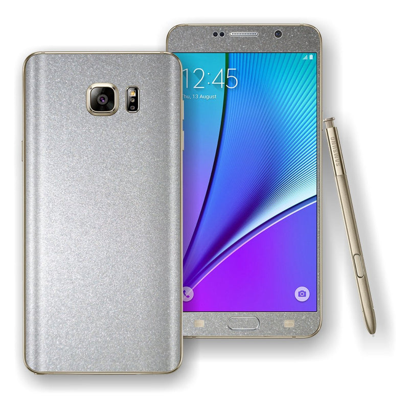 Samsung Galaxy NOTE 5 Glossy Silver Metallic Skin Wrap Decal Cover Protector by EasySkinz
