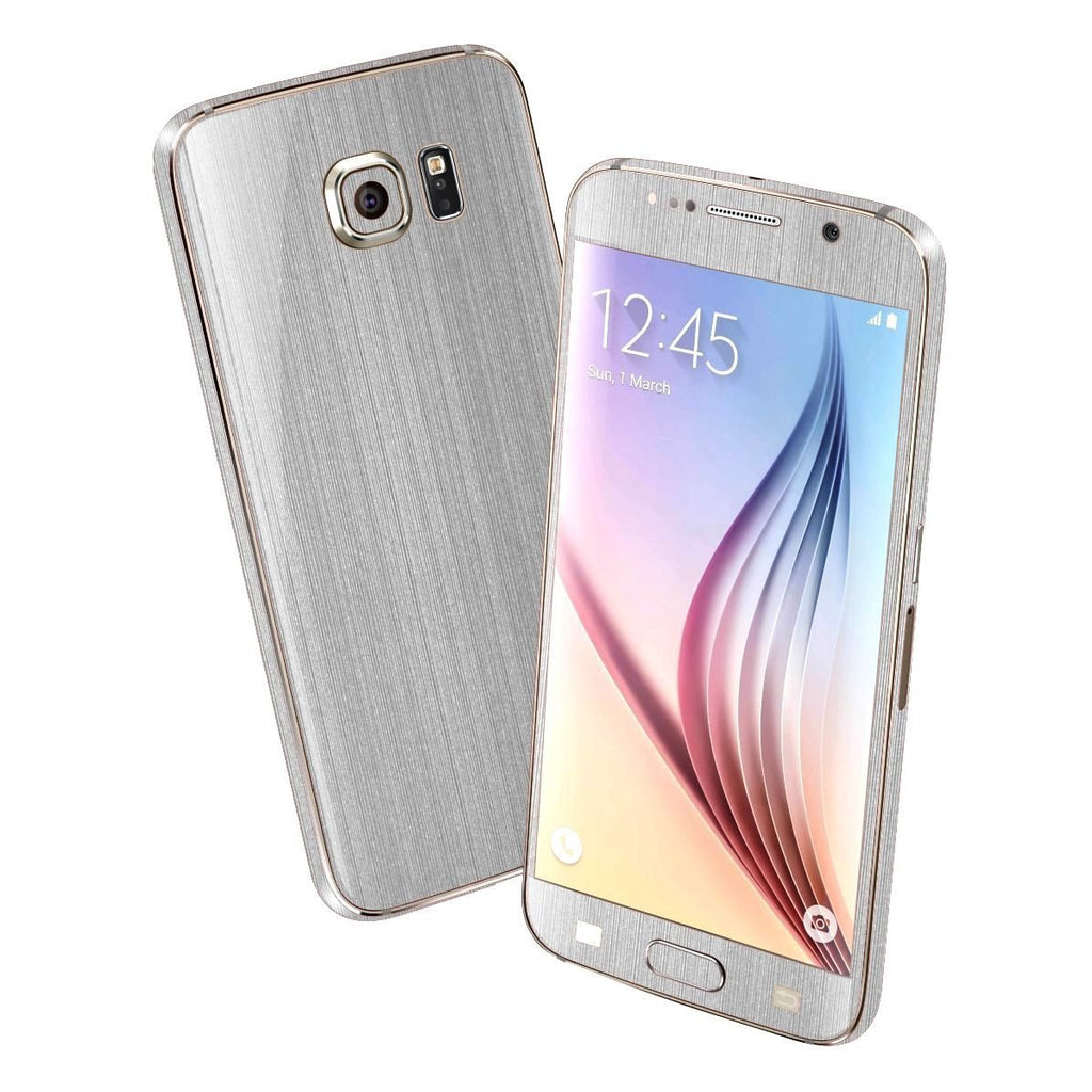 Samsung Galaxy S6 Premium Brushed Steel Silver Skin Wrap Sticker Cover Decal Protector by EasySkinz