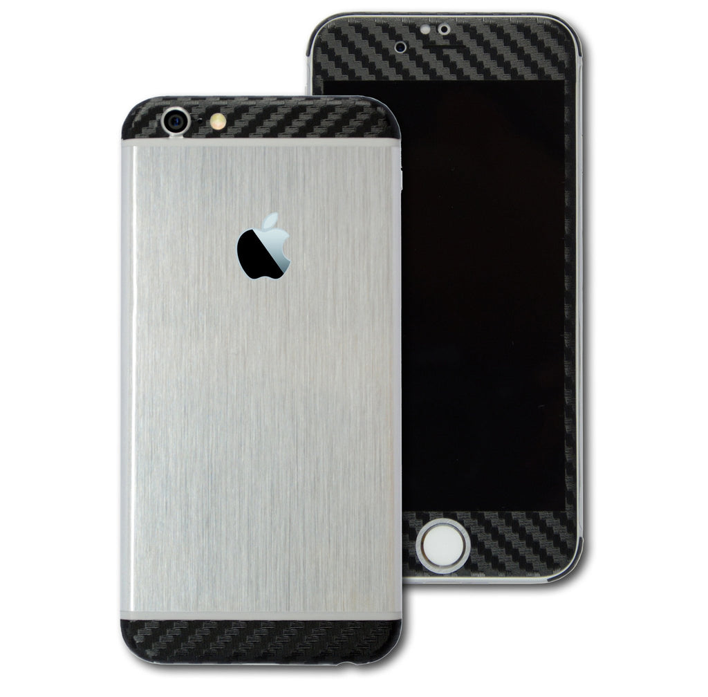 iPhone 6 Plus Brushed SILVER with BLACK Carbon Fibre Skin Wrap Sticker Cover Decal Protector by EasySkinz