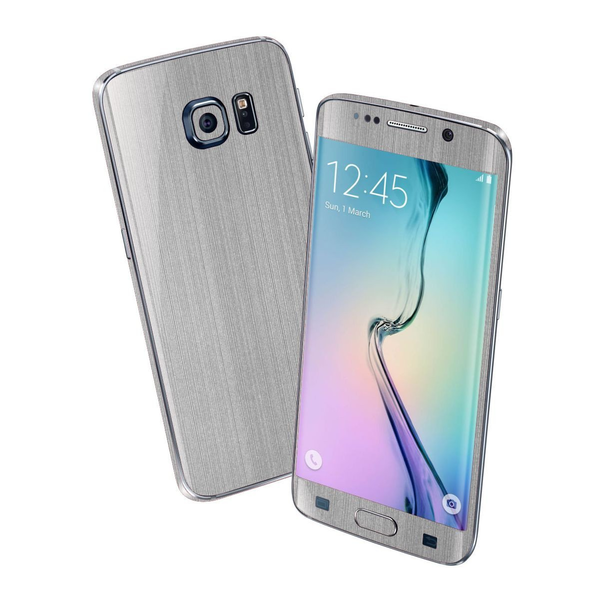 Samsung Galaxy S6 EDGE Premium Brushed Steel Silver Skin Wrap Sticker Cover Decal Protector by EasySkinz